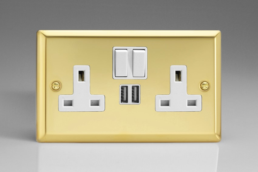 XV5U2SW Varilight 2 Gang 13A Single Pole Switched Socket + 2 x 5V DC 2100mA USB Charging Ports, White Insert & Switches. Classic Victorian Polished Brass Effect
