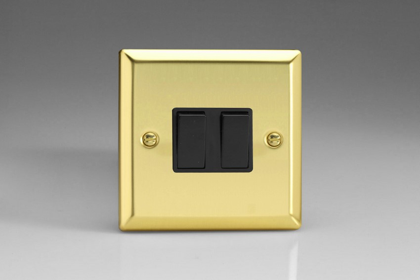 XV77B Varilight 2 Gang (Double), (3 Way) Intermediate 10 Amp Switch, Classic Victorian Polished Brass Effect