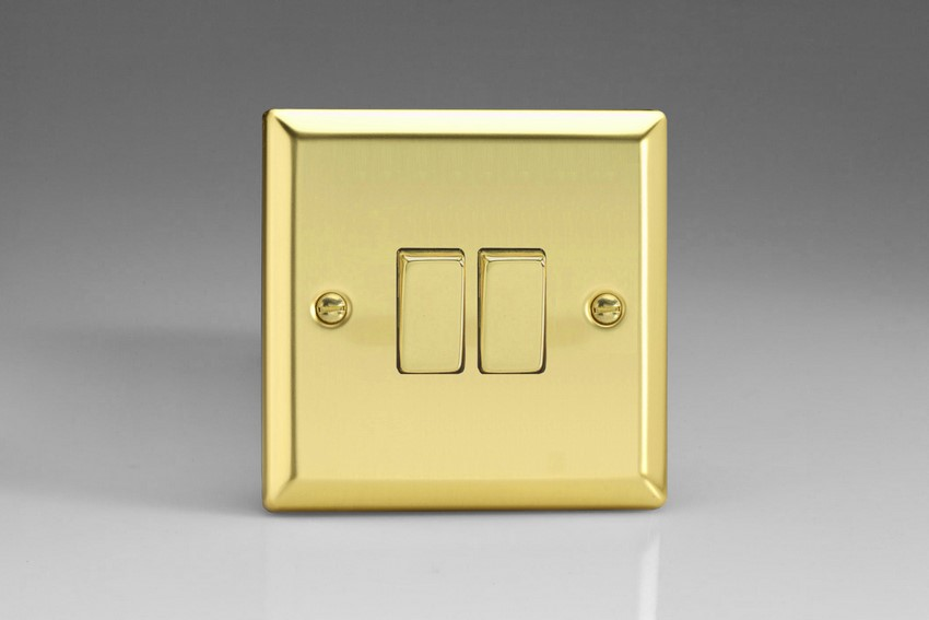 XV77D Varilight 2 Gang (Double), (3 Way) Intermediate 10 Amp Switch, Classic Victorian Polished Brass Effect