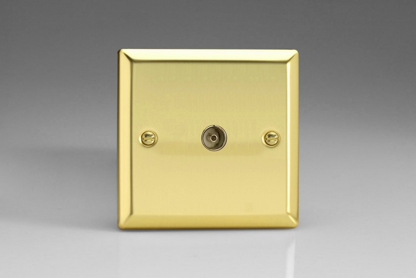 XV8 Varilight 1 Gang (Single), Co-axial TV Socket, Classic Victorian Polished Brass Effect