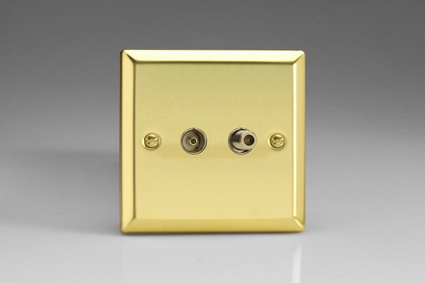 XV88S Varilight 2 Gang (Double), Co-axial TV and Satellite Socket, Classic Victorian Polished Brass Effect