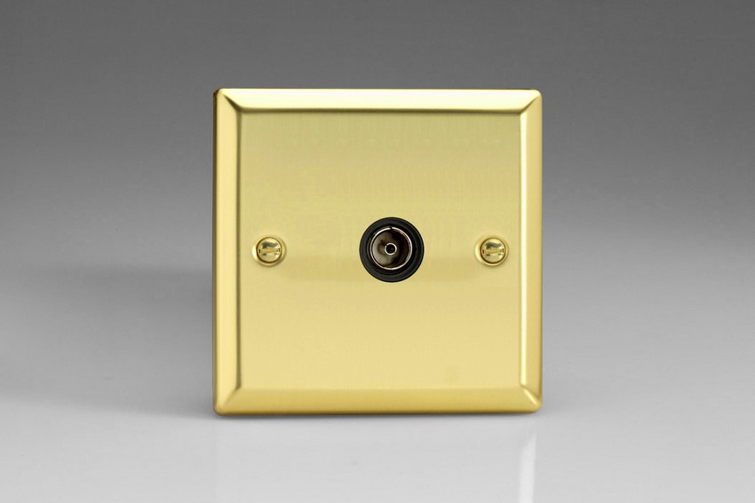 XV8ISOB Varilight 1 Gang (Single), Isolated Co-axial TV Socket, Classic Victorian Polished Brass Effect