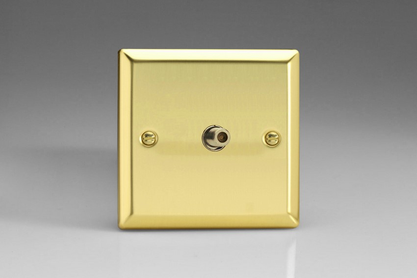 XV8S Varilight 1 Gang (Single), Satellite TV Socket, Classic Victorian Polished Brass Effect