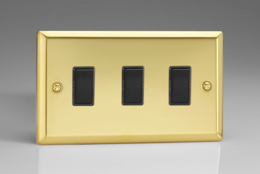 XV93B Varilight 3 Gang (Triple), 1or 2 Way 10 Amp Switch, Classic Victorian Polished Brass Effect (Double Plate)