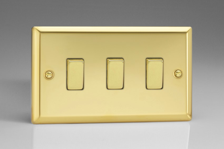 XV93D Varilight 3 Gang (Triple), 1or 2 Way 10 Amp Switch, Classic Victorian Polished Brass Effect (Double Plate)