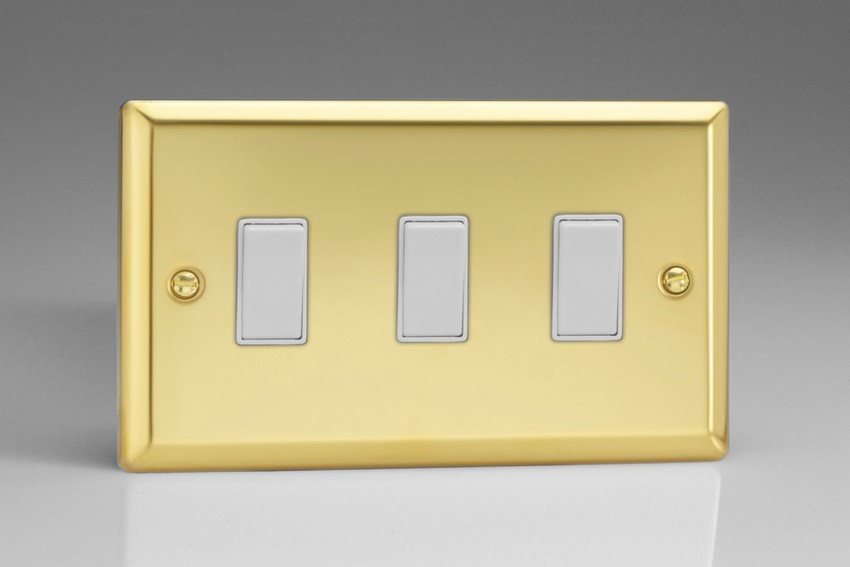 XV93W Varilight 3 Gang (Triple), 1or 2 Way 10 Amp Switch, Classic Victorian Polished Brass Effect (Double Plate)
