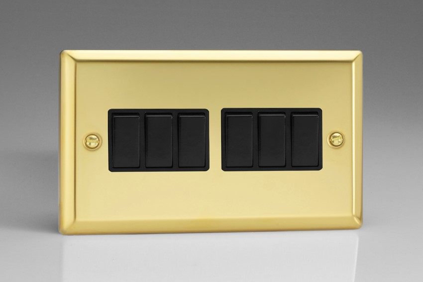 XV96B Varilight 6 Gang 1or 2 Way 10 Amp Switch, Classic Victorian Polished Brass Effect (Double Plate)