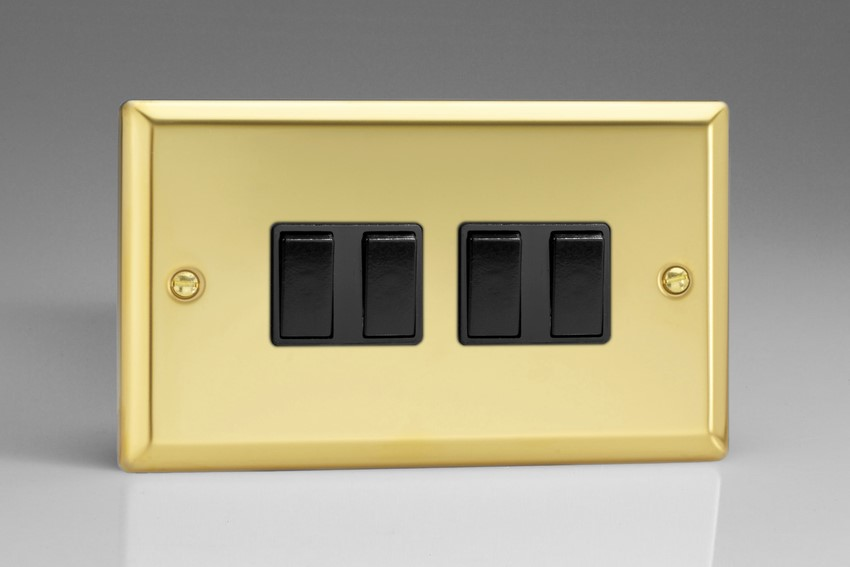 XV9B Varilight 4 Gang (Quad), 1or 2 Way 10 Amp Switch, Classic Victorian Polished Brass Effect (Double Plate)