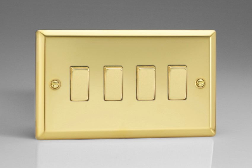 XV9D Varilight 4 Gang (Quad), 1or 2 Way 10 Amp Switch, Classic Victorian Polished Brass Effect (Double Plate)