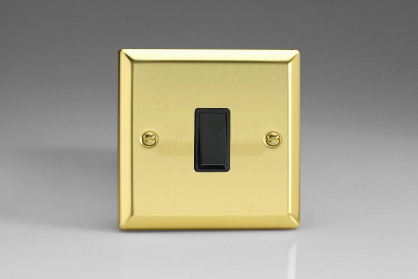 XVBPB Varilight 1 Gang (Single), 1 Way, 10 Amp Retractive Switch (Bell and Blind Switch), Classic Victorian Polished Brass Effect