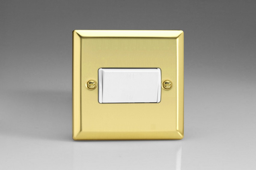XVFiW Varilight 10 Amp Fan isolating Switch (3 Pole), Classic Victorian Polished Brass Effect