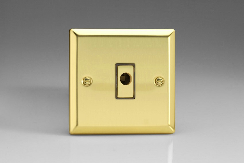 XVFOD Varilight Flex Outlet Plate with Cable Clamp, Polished Brass Effect insert, Classic Victorian Polished Brass Effect