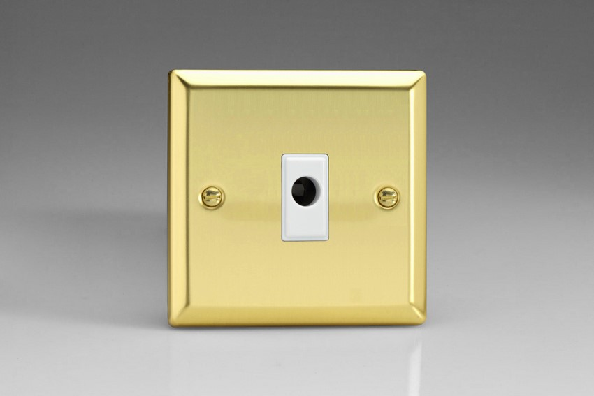 XVFOW Varilight Flex Outlet Plate with Cable Clamp. White insert, Classic Victorian Polished Brass Effect