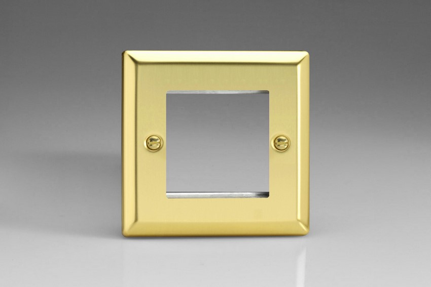 XVG2 Varilight Single Size Data Grid Face Plate For 2 Data Modules, Classic Victorian Polished Brass Effect