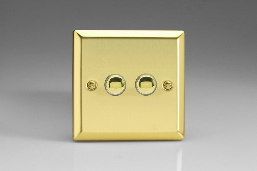 XVM2 Varilight 2 Gang (Double), 1 Way, 6 Amp Retractive/Momentary Switch (Push To Make), Classic Victorian Polished Brass Effect