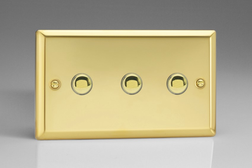 XVM3 Varilight 3 Gang (Triple), 1 Way, 6 Amp Impulse Retractive Switch (Push To Make), Classic Victorian Polished Brass Effect