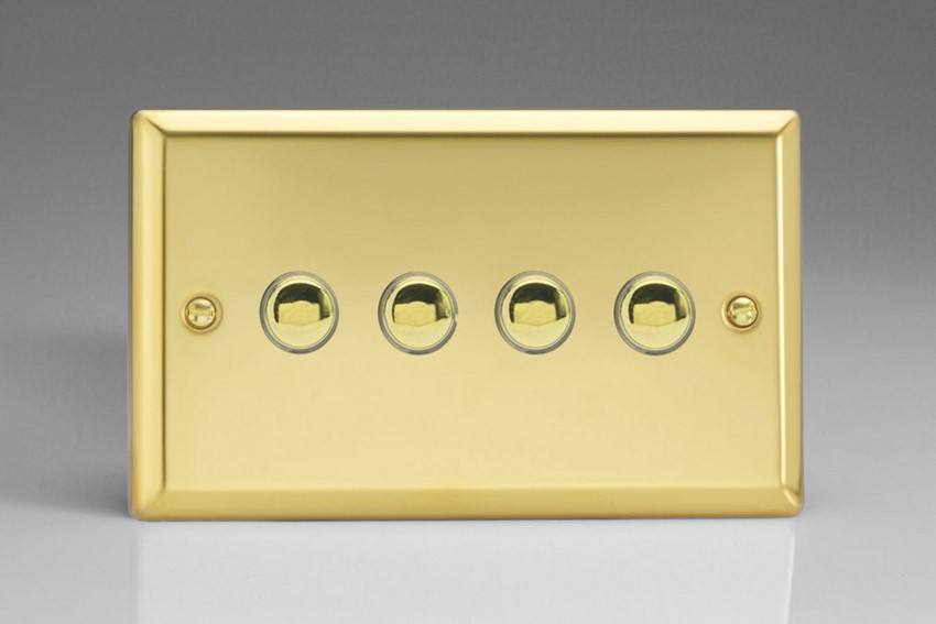 XVM4 Varilight 4 Gang (Quad), 1 Way, 6 Amp Impulse Retractive Switch (Push To Make), Classic Victorian Polished Brass Effect