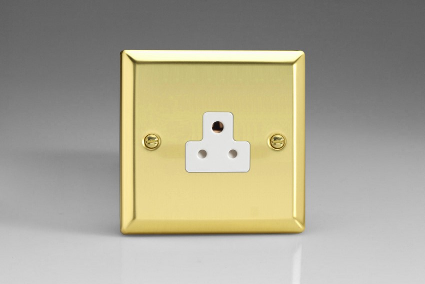 XVRP2AW Varilight 1 Gang (Single), 2 Amp Round Pin Socket, Classic Victorian Polished Brass Effect