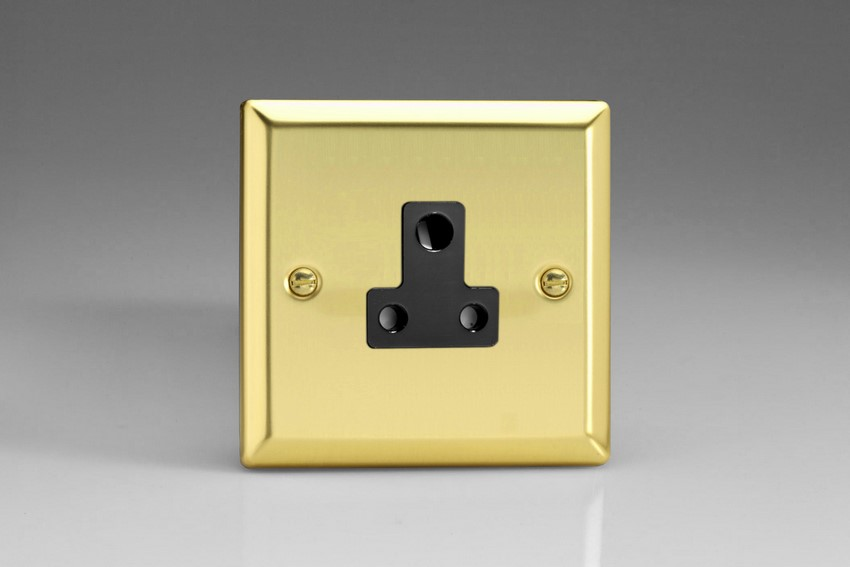 XVRP5AB Varilight 1 Gang (Single), 5 Amp Round Pin Socket, Classic Victorian Polished Brass Effect