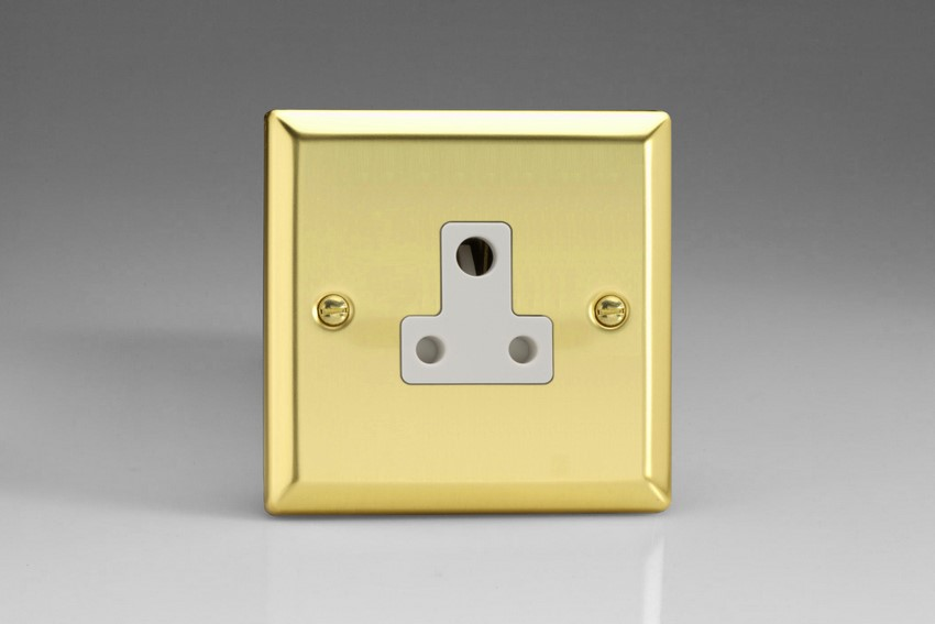 XVRP5AW Varilight 1 Gang (Single), 5 Amp Round Pin Socket, Classic Victorian Polished Brass Effect