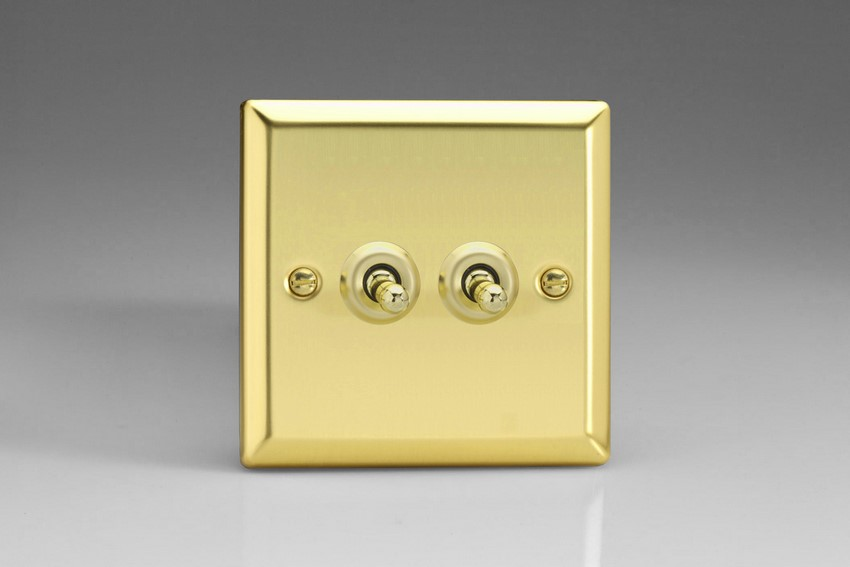XVT2 Varilight 2 Gang (Double), 1 or 2 Way 10 Amp Classic Toggle Switch, Classic Victorian Polished Brass Effect