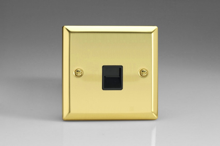 XVTSB Varilight 1 Gang (Single), Telephone Slave Socket, Classic Victorian Polished Brass Effect