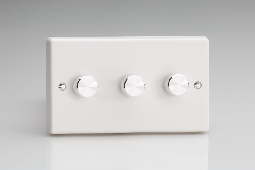 HQ43A Varilight V-Dim Series 3 Gang, 1 or 2 Way 3 x250 Watt Dimmer, Classic White Dimmer