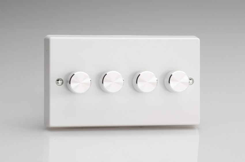 HQ74A-SP Varilight V-Dim 4 Gang, 1 or 2 Way 4x120 Watt Dimmer For Energy Saving Lamps, Classic White Dimmer. (Bespoke)
