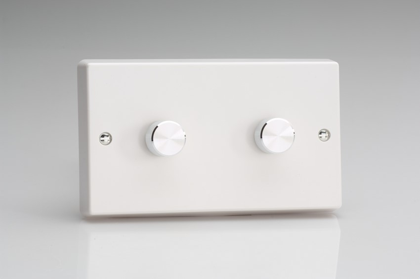 JQDP402A Varilight V-Pro Series 2 Gang, 1 or 2 Way, Push-On/Off Rotary LED Dimmer 2 x 0-120W (1-10 LEDs) (Twin Plate), Classic White Plastic, Aluminium Dimmer Knobs