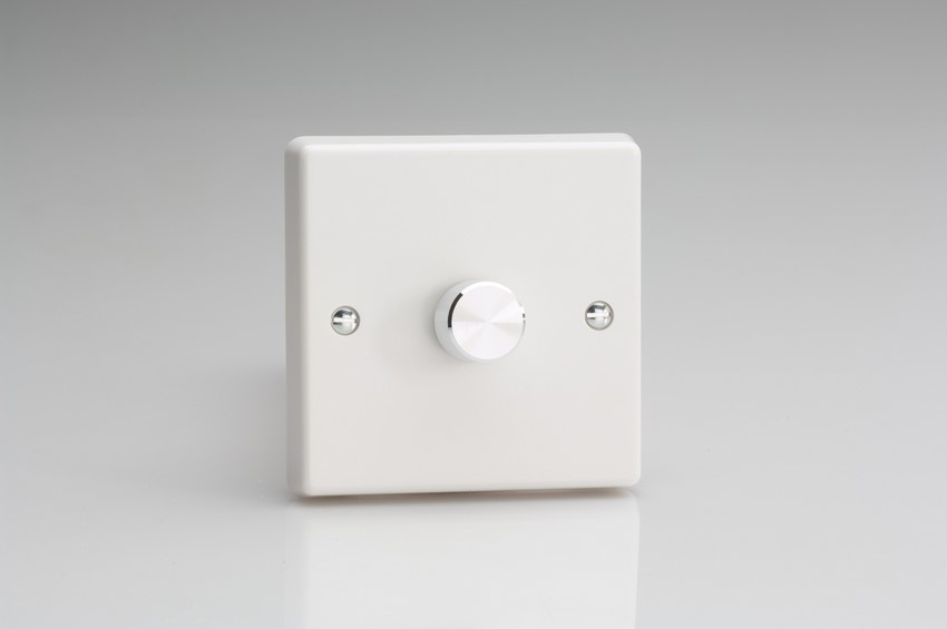 JQP401A Varilight 1-Gang 2-Way Push-On/Off Rotary LED Dimmer 1 x 0-120W (1-10 LEDs), White Plate, Aluiminum Knob