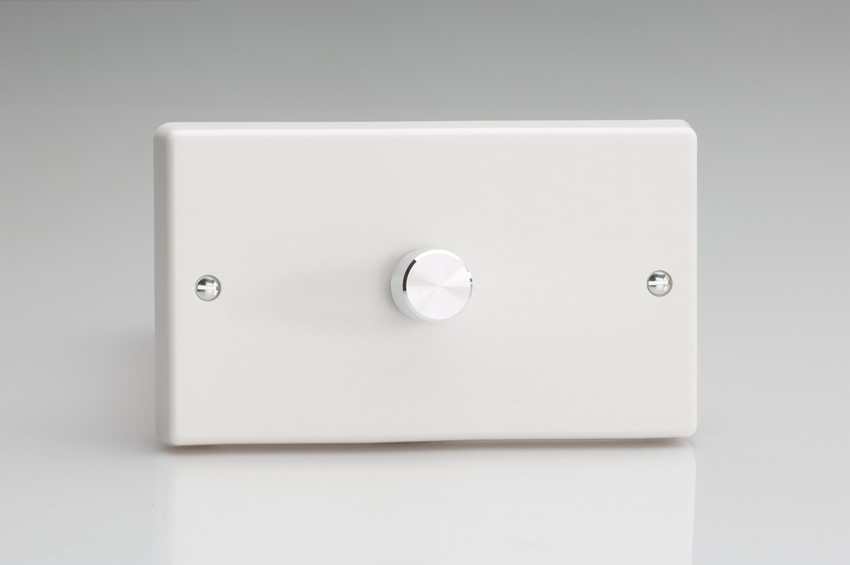 TQDR1001A Varilight V-Dim Series 1 Gang on a Double Plate, 1 Way Rotary 1000 Watt Dimmer, Classic White Plastic With Aluminium Knob