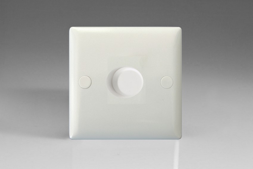 Varilight V-Pro Series 1 Gang 0-120W Trailing Edge LED Dimmer Polar White Moulded Bevel