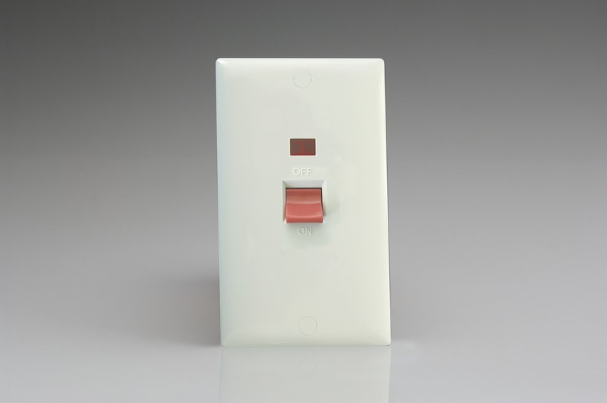 Varilight 45 Amp Double Pole Vertical Cooker Switch with Neon Classic Polar White Moulded Bevel