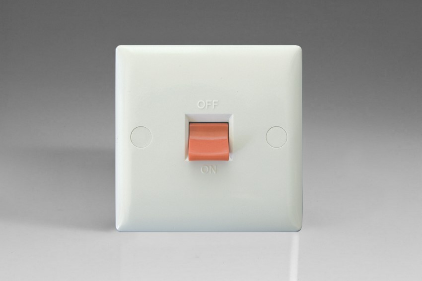 XO45SW-P Varilight 45 Amp Cooker Switch (Single Size), White Moulded Bevel
