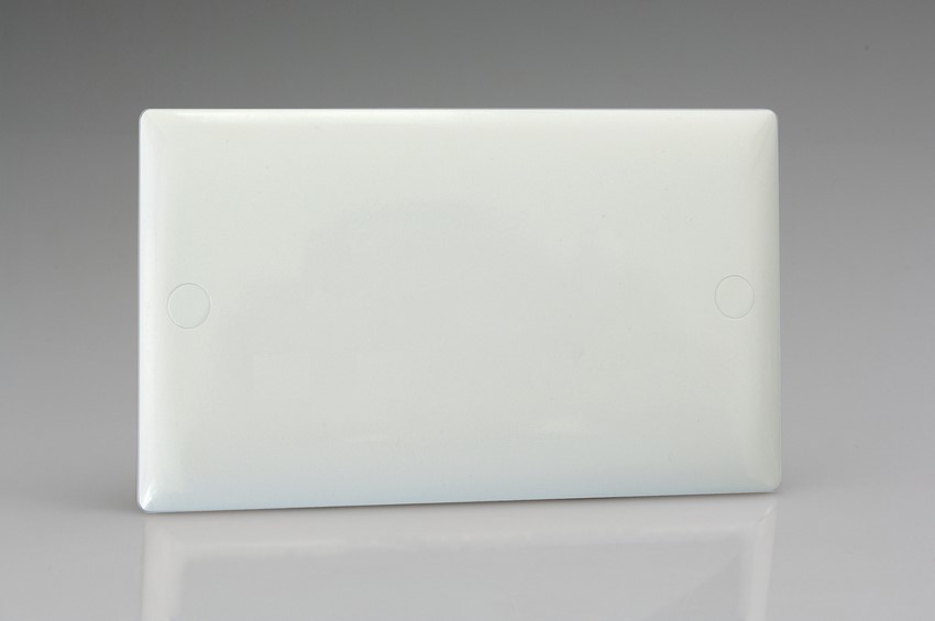 Varilight Double Blank Plate Classic Polar White Moulded Bevel