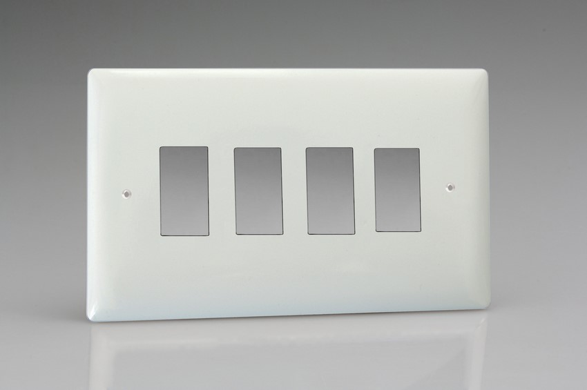 Varilight 4 Gang Power Grid Faceplate Including Power Grid Frame