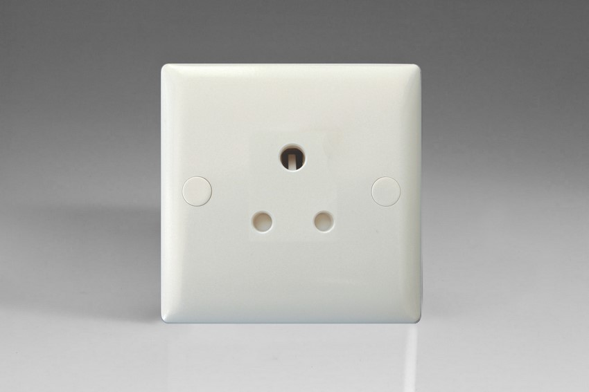Varilight 1 Gang 5 Amp White Round Pin Socket 0-1150 Watts Classic Polar White Moulded Bevel
