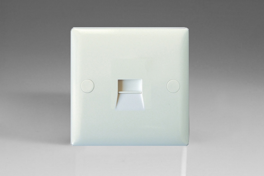 XOTSW-P Varilight 1 Gang (Single), Telephone Slave Socket, White Moulded Bevel