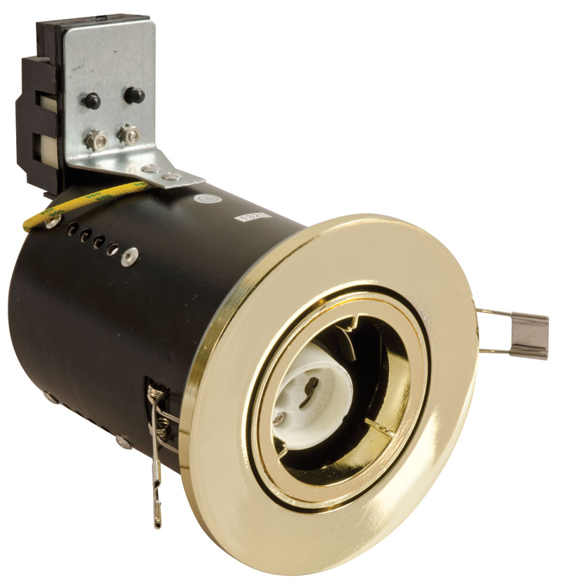 Fire Resistant Wall Spacers : Fggbdc fire rated downlight gu tilt brass effect