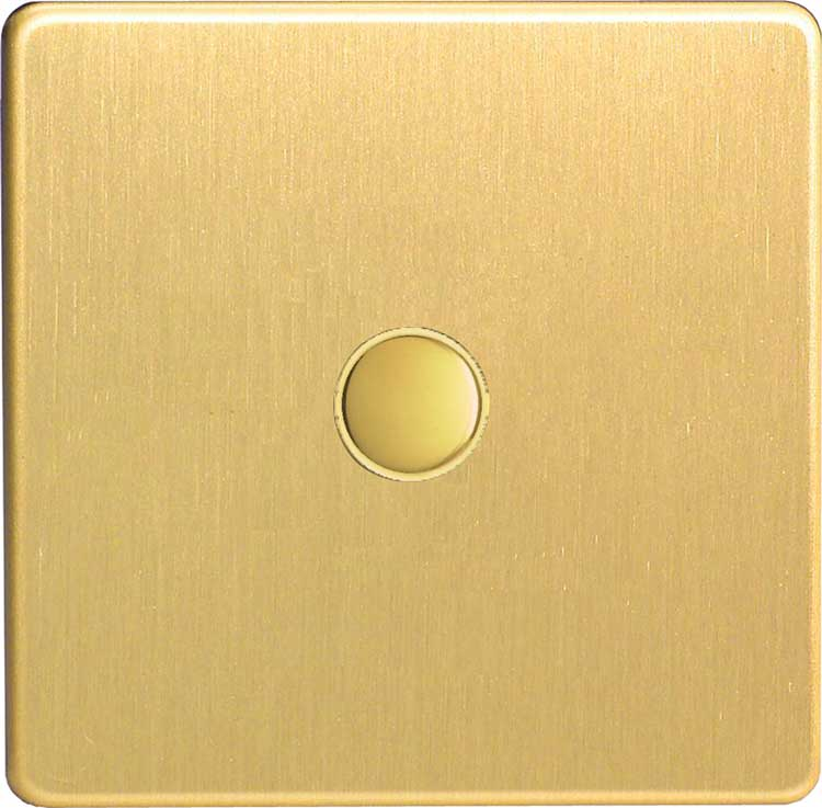 XEBP1S Varilight European 1 Gang (Single) 1 or 2 way 6 Amp Push-on Push-off Switch (impulse), Dimension Screwless Brushed Brass Effect