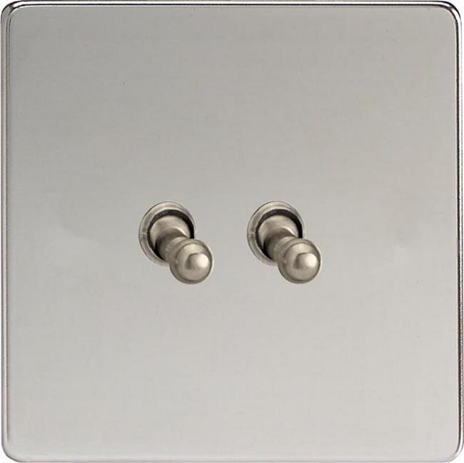 XECT2S Varilight European 2 Gang (Double), 1 or 2 Way 10 Amp Classic Toggle Switch, Dimension Screwless Polished Chrome