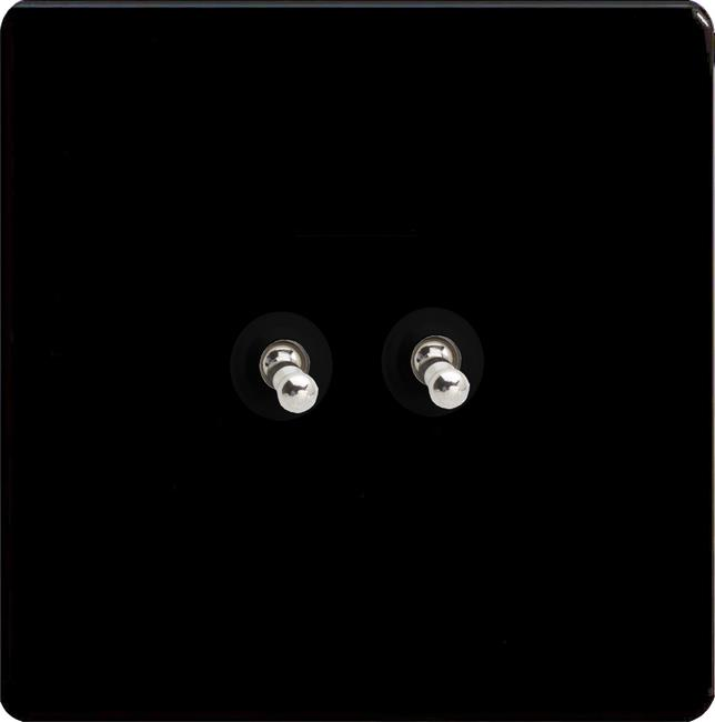 XELT2S-SP Varilight European 2 Gang (Double), 1 or 2 Way 10 Amp Classic Toggle Switch, Dimension Screwless Premium Black (Bespoke & Special)