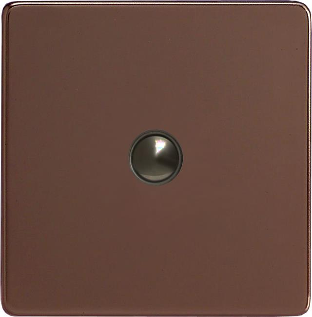 XEMP1S Varilight European 1 Gang (Single) 1 or 2 way 6 Amp Push-on Push-off Switch (impulse), Dimension Screwless Mocha