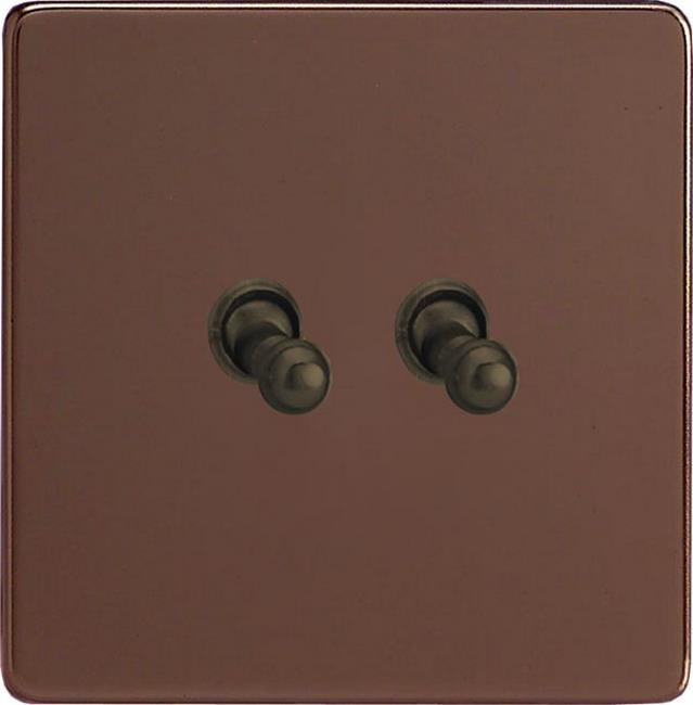 XEMT2S Varilight European 2 Gang (Double), 1 or 2 Way 10 Amp Classic Toggle Switch, Dimension Screwless Mocha