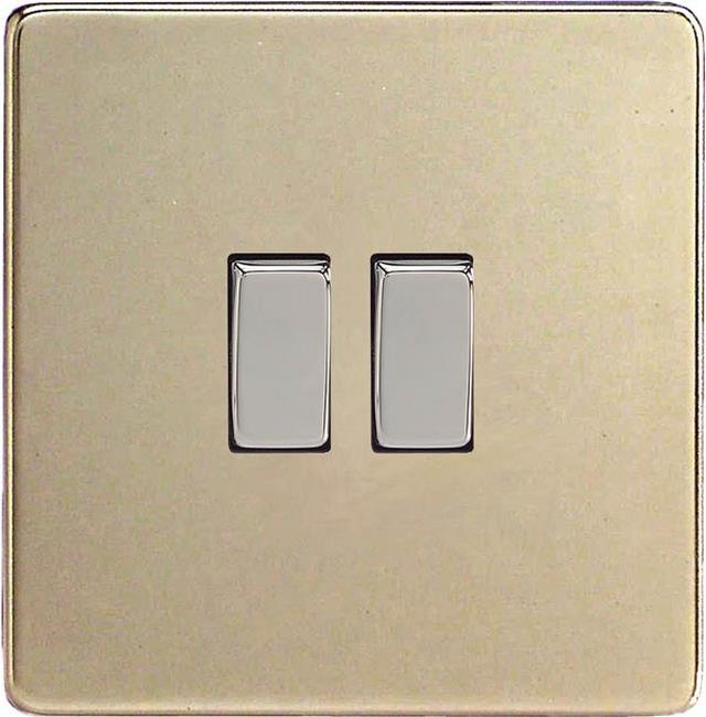 XEN2S Varilight European 2 Gang (Double), 1 or 2 Way 10 Amp Switch, Dimension Screwless Satin Chrome