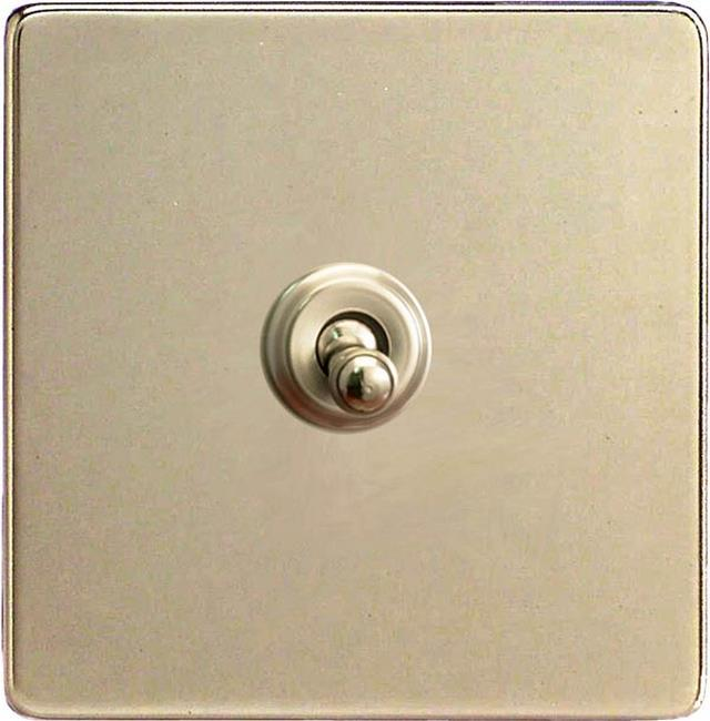 XENT1S Varilight European 1 Gang (Single), 1 or 2 Way 10 Amp Classic Toggle Switch, Dimension Screwless Satin Chrome