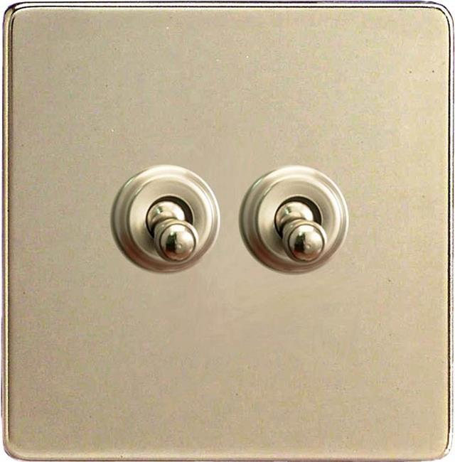 XENT2S Varilight European 2 Gang (Double), 1 or 2 Way 10 Amp Classic Toggle Switch, Dimension Screwless Satin Chrome