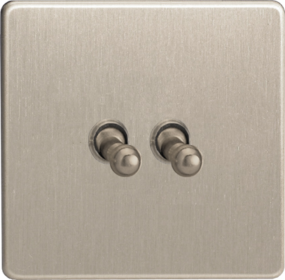 XEST2S Varilight European 2 Gang (Double), 1 or 2 Way 10 Amp Classic Toggle Switch, Dimension Screwless Brushed Steel