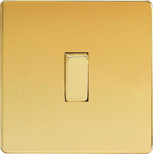 XEV1S Varilight European 1 Gang (Single), 1 or 2 Way 10 Amp Switch, Dimension Screwless Polished Brass Effect