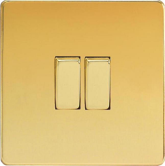XEV2S Varilight European 2 Gang (Double), 1 or 2 Way 10 Amp Switch, Dimension Screwless Polished Brass Effect